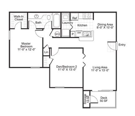 Floor Plan  B1 2 Bed 1 Bath Floor Plan at The Watch on Shem Creek, Mt. Pleasant