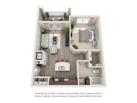 Floor Plan  A1 Unit 1BR Floor Plan for Vintage Blackman Apartments in Murfeesboro, Tennessee