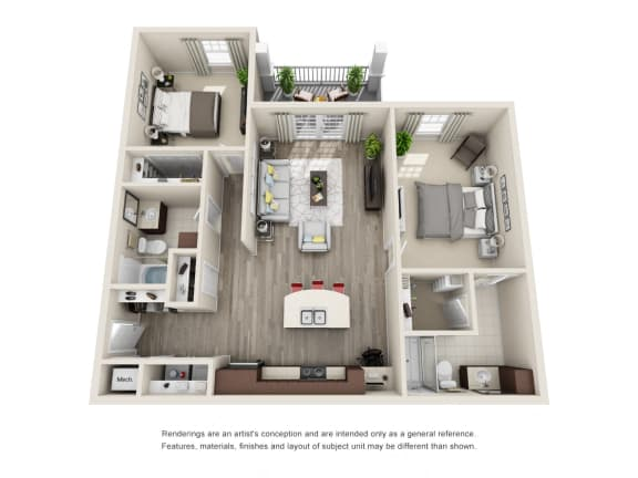 Floor Plan  B1 Unit 2BR Floor Plan for Vintage Blackman Apartments in Murfeesboro, Tennessee