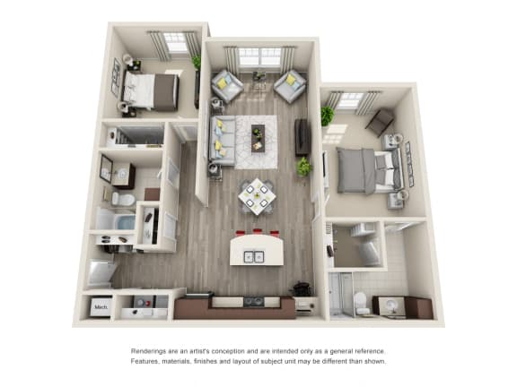 Floor Plan  B2 Unit 2BR Floor Plan for Vintage Blackman Apartments in Murfeesboro, Tennessee