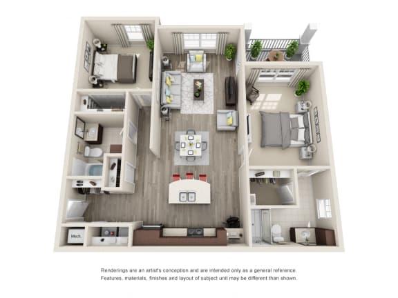 Floor Plan  B2A Unit 2BR Floor Plan for Vintage Blackman Apartments in Murfeesboro, Tennessee