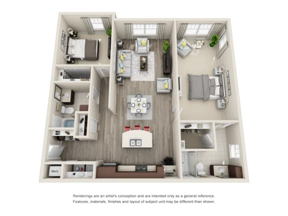 Floor Plan  B3 Unit 2BR Floor Plan for Vintage Blackman Apartments in Murfeesboro, Tennessee