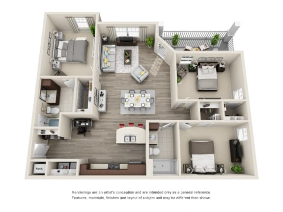 Floor Plan  C1 Unit 3BR Floor Plan for Vintage Blackman Apartments in Murfeesboro, Tennessee