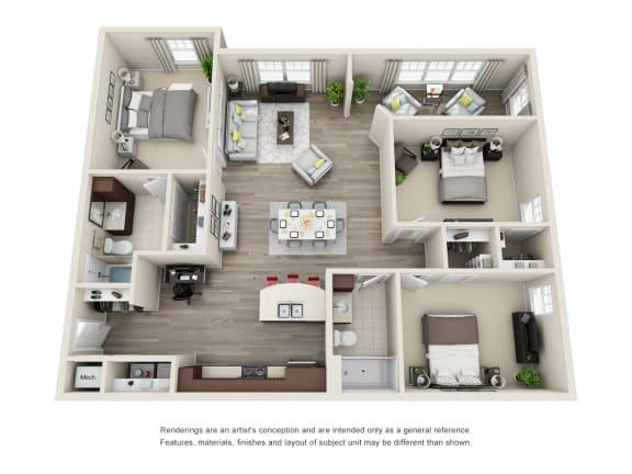 Floor Plan  C2 Unit 3BR Floor Plan for Vintage Blackman Apartments in Murfeesboro, Tennessee