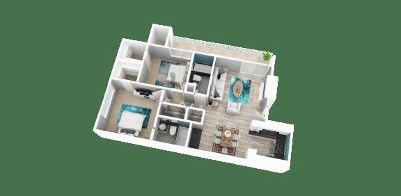 Floor Plan  2 bedroom apartment in Redlands ca