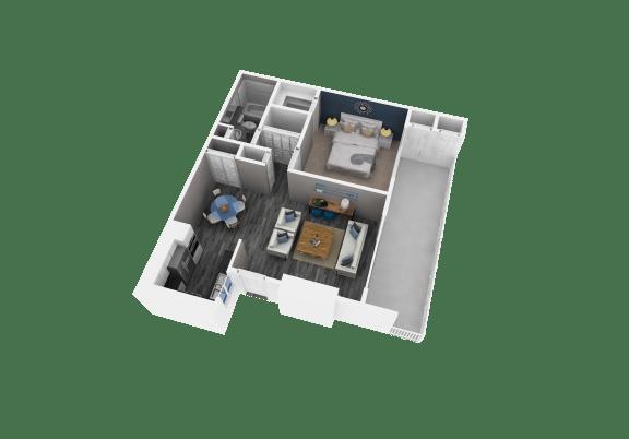 Floor Plan  redlands 1 bedroom apartment