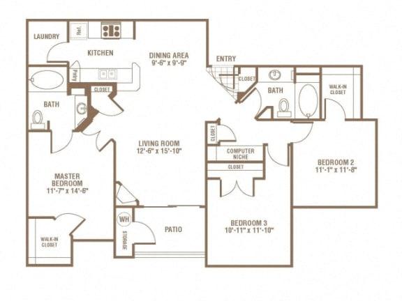 Floor Plan  3 Bed 2 Bath Floor Plan at The Preserve at Greenway Park, Casper, WY