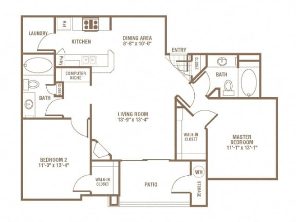 Floor Plan  2 Bed 2 Bath Floor Plan at The Preserve at Greenway Park, Wyoming