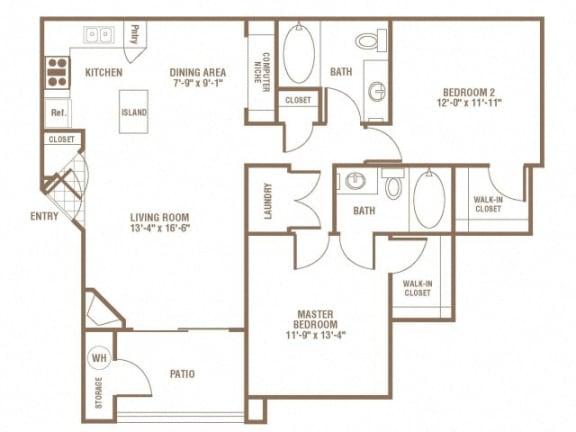Floor Plan  2 bedroom 2 bath Floor Plan at The Preserve at Greenway Park, Casper, WY, 82609