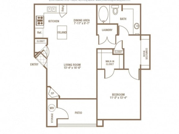 Floor Plan  One Bed One Bath Floor Plan at The Preserve at Greenway Park, Casper, Wyoming