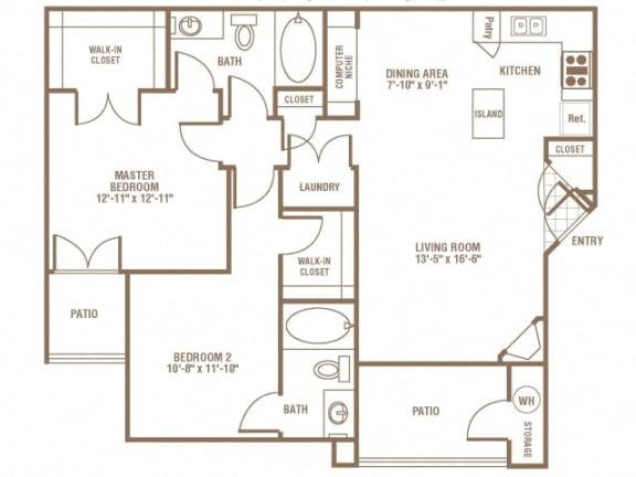 Floor Plan  2 Bedroom 2 Bathroom Floor Plan at The Preserve at Greenway Park, Wyoming, 82609