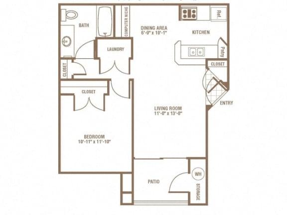 Floor Plan  1 Bed 1 Bath Floor Plan at The Preserve at Greenway Park, Casper, WY, 82609