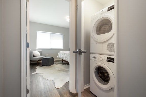 Modern Laundry Room at Park Heights by the Lake Apartments, Chicago, IL, 60649