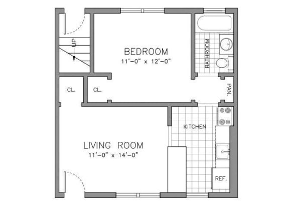 Floor Plan  RENOVATED ONE BEDROOM RESIDENCE