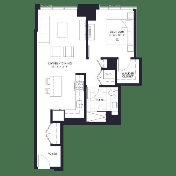 Floor Plan  Lincoln Common Dickens (C4) One Bedroom Floor Plan