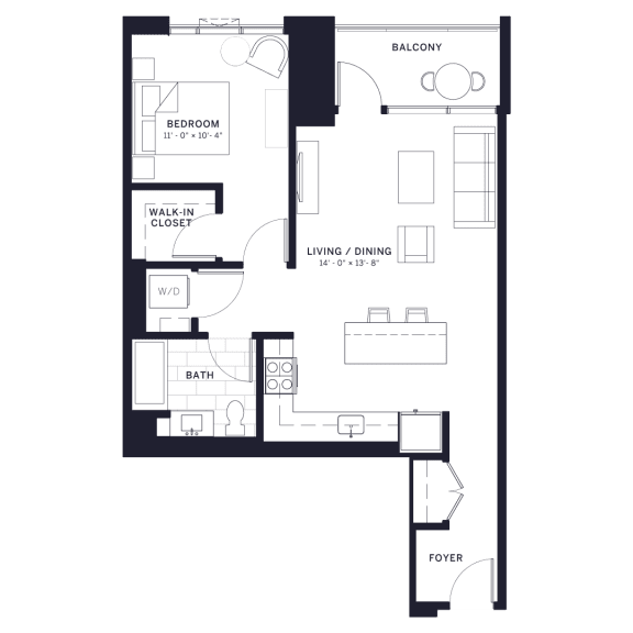 Floor Plan  Lincoln Common Hudson (C3) One Bedroom Floor Plan