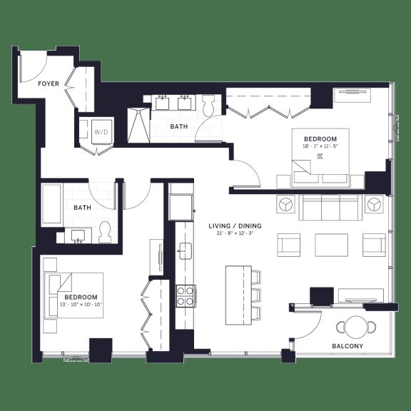 Floor Plan  Lincoln Common Drummond (1164) Two Bedroom Floor Plan