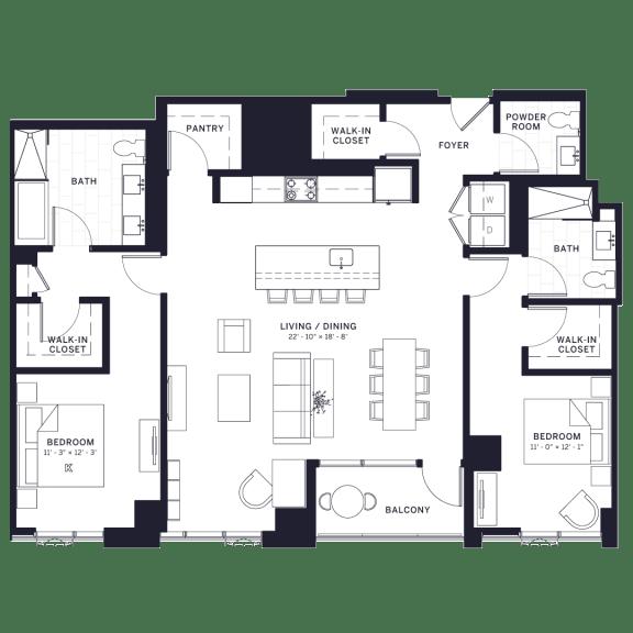 Floor Plan  Lincoln Common Halsted Two Bedroom Floor Plan