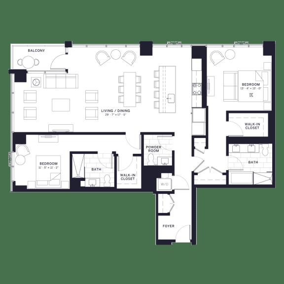 Floor Plan  Lincoln Common Chalmers Two Bedroom Floor Plan