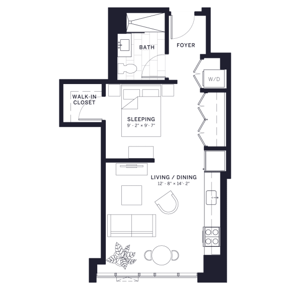 Floor Plan  Lincoln Common Deming Junior One Bedroom Floor Plan at The Apartments at Lincoln Common, Illinois, 60614
