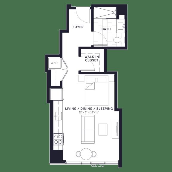 Floor Plan  Lincoln Common Webster Studio Floor Plan at The Apartments at Lincoln Common, Chicago, 60614