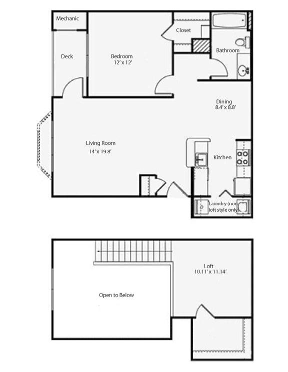 Floor Plan  1L1 Fairmont Loft