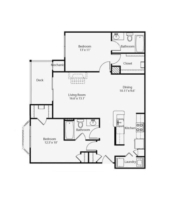 Floor Plan  2x2 Talbot
