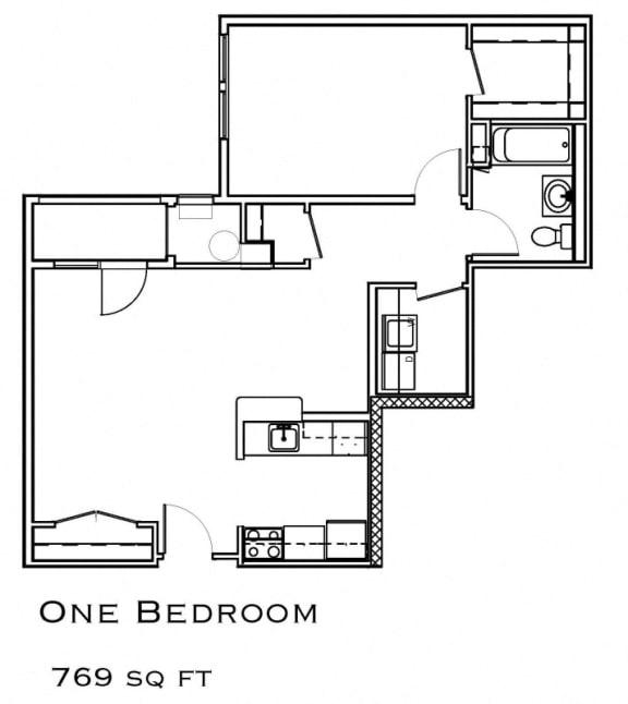 One Bedroom Corner Layout