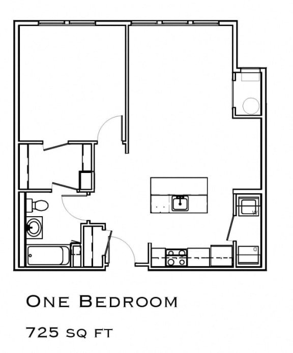 Floor Plan  One Bedroom Layout at The Commons in Weymouth