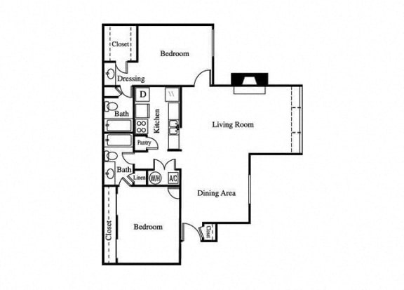 Floor Plan  two bedroom floorplan for greenhouse apartments