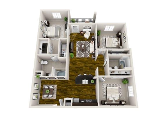 Floor Plan  3 Bed / 2 Bath Floor Plan