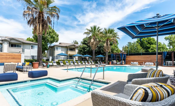 Resort style Pool & Spa at Summit Apartments in Chino Hills, California