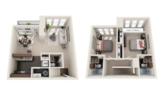 Floor Plan  2 BED 2.5 BATH  956 sqft