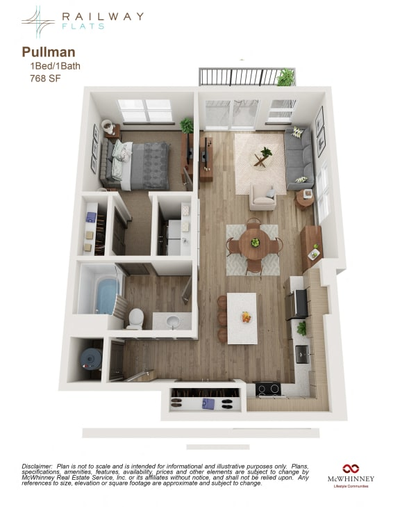 Floor Plan  Pullman Floor Plan - 1 Bed/1 Bath