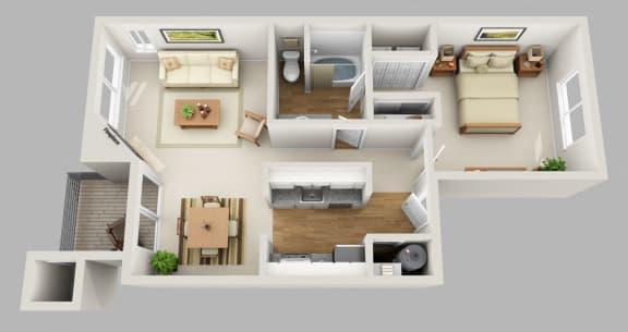 Floor Plan  Portland, OR Clermont Apartments 1 bedroom 1 bath