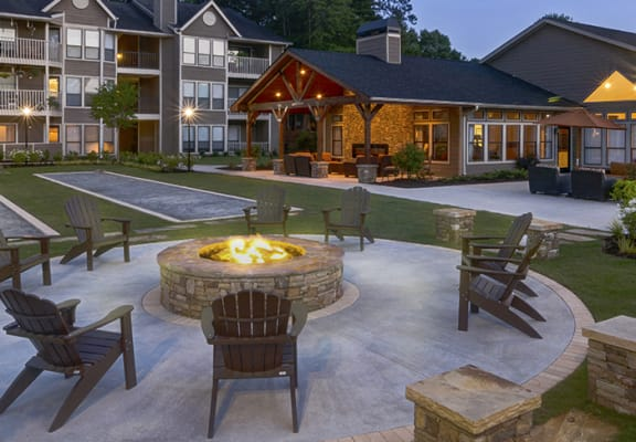 Outdoor Fire Pit at Night at Duluth GA Apartments for Rent