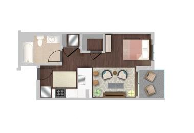 Efficiency 4 Floor Plan at Berkshire K2LA, Los Angeles, California