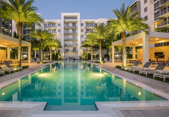 Courtyard with pool and sundeck at Allure by Windsor, Boca Raton, FL