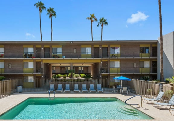 Swimming pool and sundeck at Arcadia on 49th Apartments in Phoenix, AZ