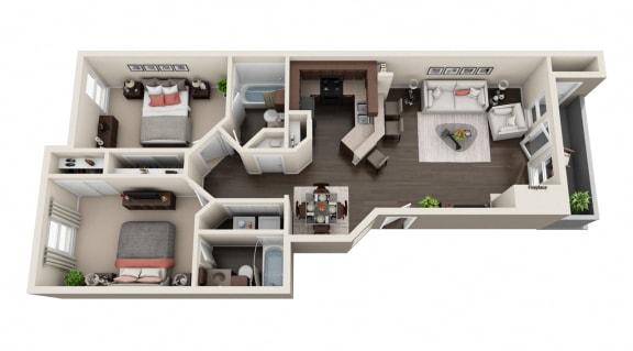 Floor Plan  2 BED 2 BATH 970 sqft