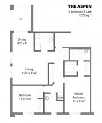 2 Bed 2 Bath The Aspen Floor Plan at Aspenwoods Apartments, Minnesota