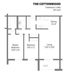 2 Bed 1 Bath The Cottonwood Floor Plan at Aspenwoods Apartments, Eagan