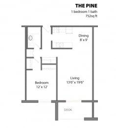 Floor Plan  1 Bed 1 Bath The Pine Floor Plan at Aspenwoods Apartments, Eagan, Minnesota