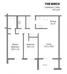 2 Bed 1.3 Bath The Birch Floor Plan at Aspenwoods Apartments, Eagan