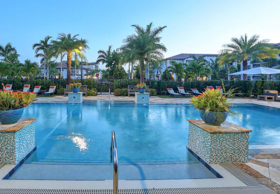 Pool with double entry steps at Windsor at Delray Beach, FL, 33483