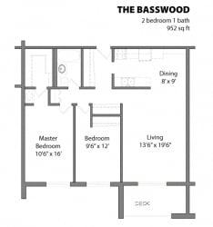 2 Bed 1 Bath The Basswood Floor Plan at Aspenwoods Apartments, Minnesota