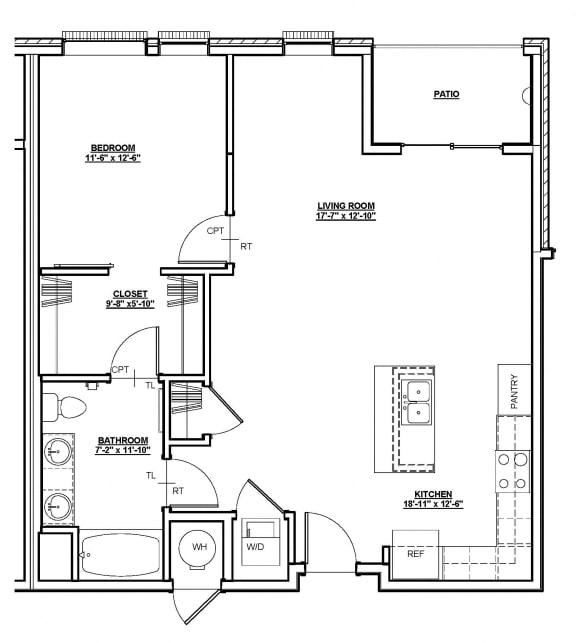 Lincoln Floor plan at Cycle Apartments, Colorado, 80525