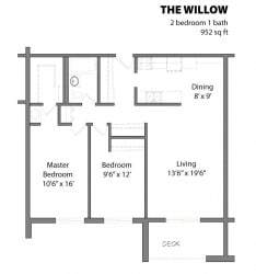 2 Bed 1 Bath The Willow Floor Plan at Aspenwoods Apartments, Eagan, Minnesota