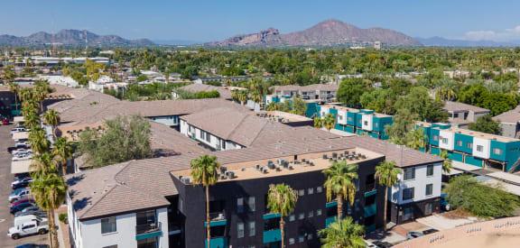 The Urban Apartments Exterior Building and Surrounding City of Phoenix, Arizona