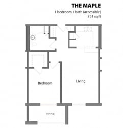 1 Bed 1 Bath The Maple Floor Plan at Aspenwoods Apartments, Minnesota, 55123